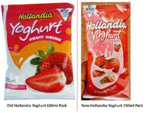 Old and New Hollandia Yoghurt Pack Sizes